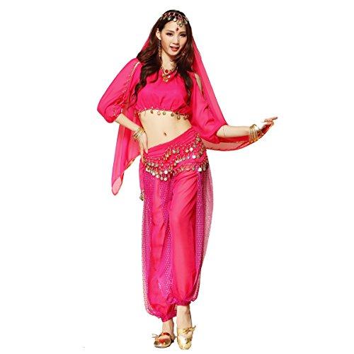 Best Dance Bauchtanz-Kostüm für Damen bestehend aus Oberteil mit Ärmeln, Haremshose und einem Hüftgürtel / Hüfttuch, dreiteilig