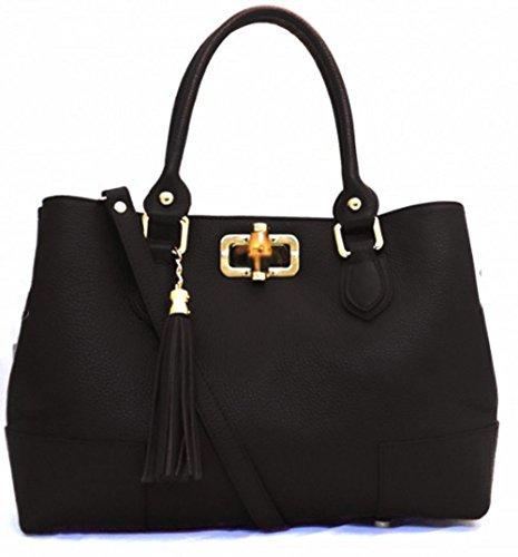 SUPERFLYBAGS Damen handtasche model Nobam in echtem Leder mit Verschluss in echten Bambus Schwarz