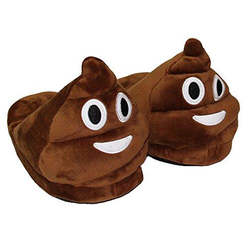 Minetom Donna Pantofole Emoji Invernali Peluche Pistone Caldo Marrone