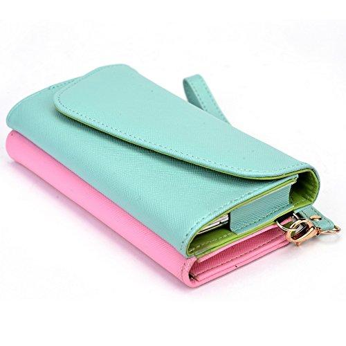 Kroo d'embrayage portefeuille avec dragonne et sangle bandoulière pour HTC One (M8) Black and Orange Green and Pink