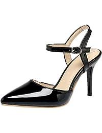 COOLCEPT Mujer Moda Correa de Tobillo Sandalias Tacon de Aguja Cerrado Slingback Zapatos Tamano
