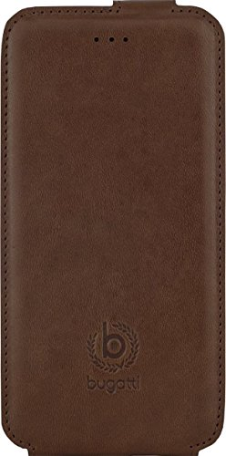 Bugatti FlipCase Rome - exklusive Echtleder-Tasche für Apple iPhone 6 / 6S  [Handarbeit   Magnetverschluss   Logoprägung] Milano - braun