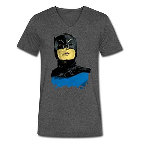 Spreadshirt DC Comics Batman Vintage Kostüm Porträt Männer Bio-T-Shirt mit V-Ausschnitt von Stanley & Stella, M, Anthrazit
