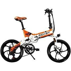 Eléctrica Plegable bicicleta de ciudad Hombres/Damas Bicicleta Bicicleta De Carretera Ciclismo RT730250W * 48V * 8Ah 20inch doble suspensión 7Speed desviador Shimano LG células de la batería doble freno de disco naranja de aleación de magnesio