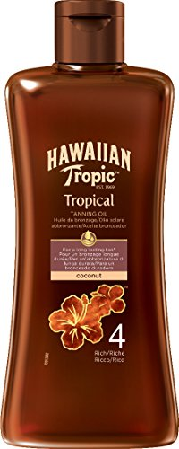 Hawaiian tropic tropical tanning oil spf 4 rich, olio solare - 200 ml