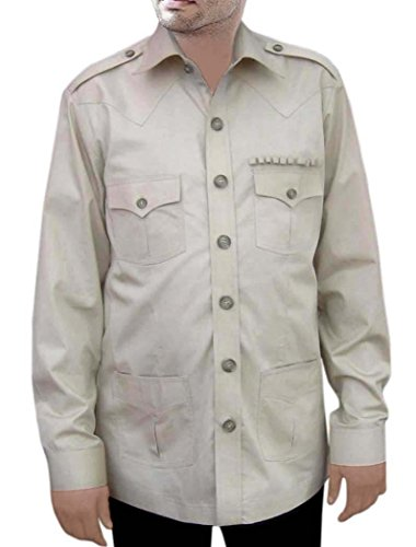 Bush Womens Light T-shirt (INMONARCH Herren Safari hellgrau Baumwolle 4Pocket Bush Shirts HS105 Gr. Medium, Light-Gray)