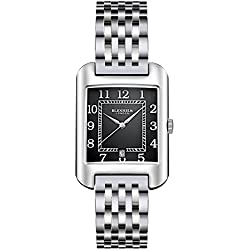 Blenheim London® B3180 Curve Watch Black Arabic Numeral with Silver Hands with Stainless Steel Strap
