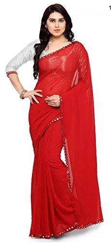 Womens Faux Georgatte Saree(Sari_red_free_size) Amazon Summer Sale