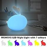Luce Notturna Bambini,WOWSYS LED Lampada Comodino Luce 7 Colori e Bambini Silicone Gatto Luce Decorazioni Luce Notturne per Camerette per Bambini,Prima Infanzia,Letto Bambini (Tramite cavo USB)