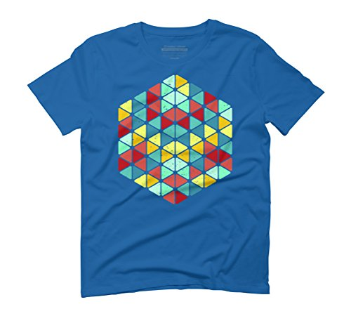 Geometric trangles colour Men's Graphic T-Shirt - Design By Humans Royal Blue