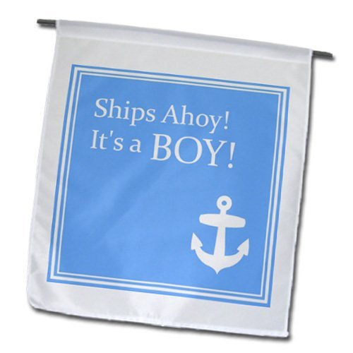 wenyige8216 Schiffe Ahoy seine A Boy für Baby Duschen/Powder Blue mit Weiß Anchor Sailor Nautical Thema 30,5 x 45,7 cm, dekorative doppelseitig Garten Flagge