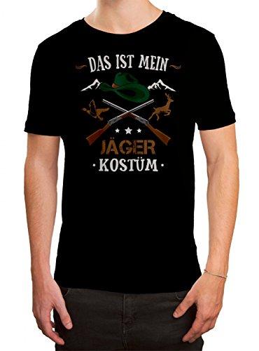 Kostüm Jäger Premium T-Shirt Verkleidung Karneval Fasching Herren Shirt, Farbe:Schwarz (Deep Black ()