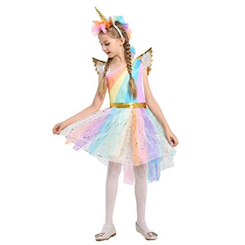 BESTOYARD Ragazze Unicorno Vestito Fascia Ali Set Unicorno Costume Vestito da Principessa Fiore Abiti da Sera per Bambini Festa Abiti...