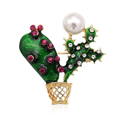 LKBAB Mode Elegant Exquisite Nette Cactus Peal Kristall Emaille Legierung Broschen Kostüm Anstecknadel Für Frauen Und Mädchen