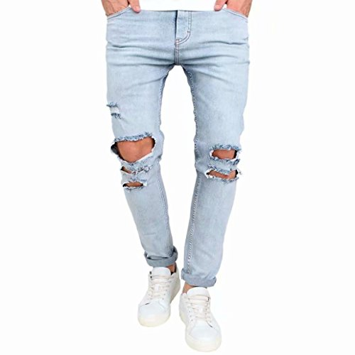 Hotsellhome 2018 Men's Stretchy Ripped Skinny Biker Jeans Destroyed Taped Slim Fit Denim Pants