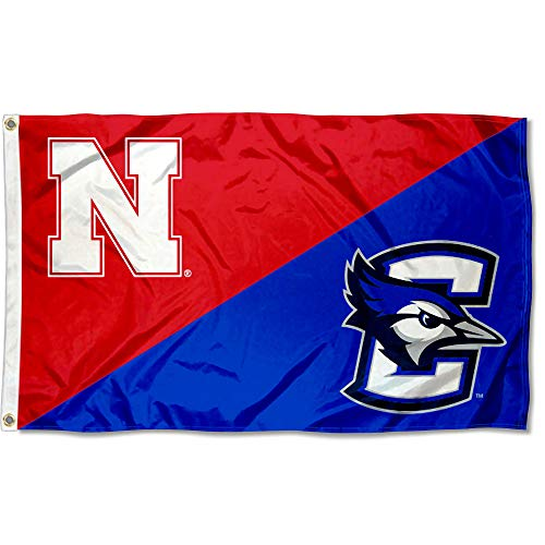 College Flags and Banners Co. Split-Fahne Nebraska vs. Creighton Haus, geteilt, 3 x 5