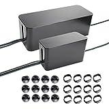 Sistemas de organización para cables, dos cajas: 16 y 9 pulgadas (40 y 23 cm). Incluye clips organizadores para cables (negro).