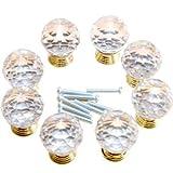 8er Kristall klar Glas goldfarbige Fassung Möbelknopf Möbelknöpfe Möbelgriffe Möbelknauf Griff Knopf Schrankgriff
