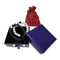 BIBIone 2 pack Calm White Howlite Lava Stone Diffuser Bracelet for Women & men with Luxury box(LAVA blue box adjustable bracelet)