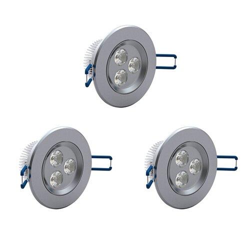 PLESONTECH® IP63 3x 3W 2800K-3000K LED Spot Einbauleuchte Warmweiß Einbau Strahler Set Decken Leuchte Lampe (kostenloser Versand aus Deutschland, 1-3 Tage für die Lieferung) (3X Warmweiß)