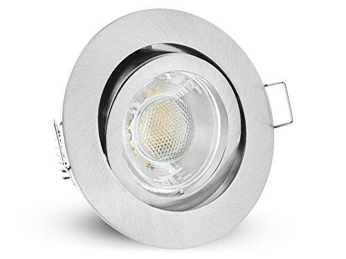 LED Decken Einbauleuchte rund schwenkbar Edelstahl Optik | Einbaustrahler mit 6W warmweiß Spot inkl. GU10 Fassung