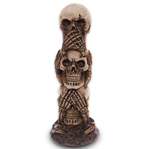 mtb more energy Deko Totenkopf Figur ''Nichts Hören - Nichts sehen - Nichts Sagen'' | Totem aus Schädeln | Höhe 19 cm | Dekoration Wohnen Tischdeko