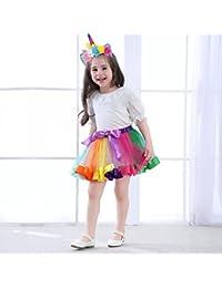 MMTX Girls Rainbow Layered Skirt Ruffle Tiered Tulle Tutu Costume Layered Dance Performance Bowknot Chiffon Dance Tiered Skirt for 0-9T Girls (With Unicorn Headband)