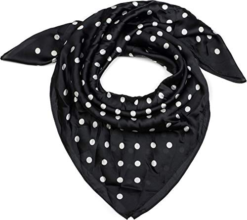 styleBREAKER Foulard quadrato da donna con stampa pois fazzoletto foulard per capelli bandana 01016171 coloreNero