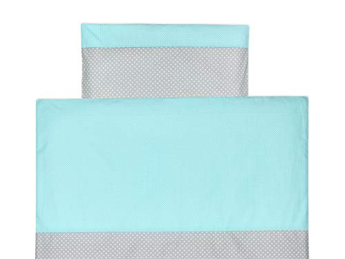 e-Set weiße Punkte auf Grau weiße Punkte auf Mint aus Kopfkissen 40 x 60 cm und Bettdecke 135 x 100 cm, Bettbezug aus Baumwolle, handgearbeitete Bettwäsche gefertigt in der EU ()