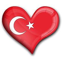 """Muy fuerte imán para frigorífico en la forma de corazón """"Bandera la Turquía"""""""