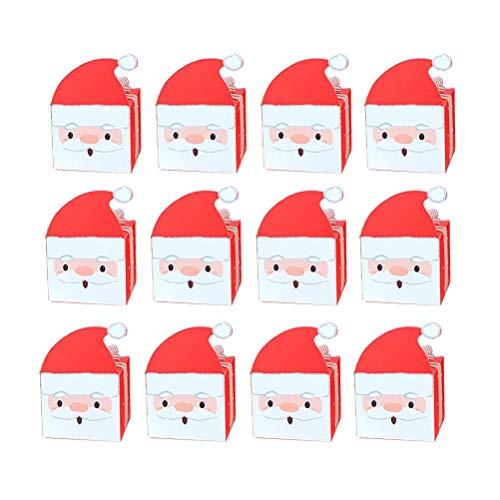 (Toyvian DIY Taschen Weihnachtsmann für Süßigkeiten Apple Kekse Papier Boxen Container für Heiligabend 12 Stücke)