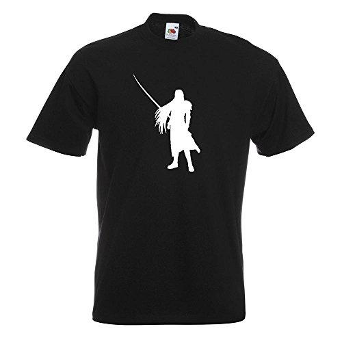 KIWISTAR - Videospielheld mit Schwert T-Shirt in 15 verschiedenen Farben - Herren Funshirt bedruckt Design Sprüche Spruch Motive Oberteil Baumwolle Print Größe S M L XL XXL Schwarz