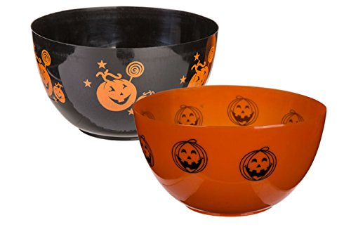 Schüssel Schale Kunststoff Halloween Kürbis Design Ø 22 cm 3 Liter 2 Stück (Bonbons Halloween)