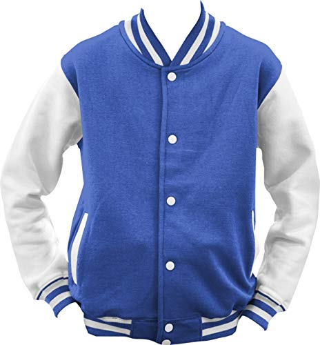 Shirtinstyle College Jacke Jacket Retro Style; Farbe RoyalWeiss, Größe M