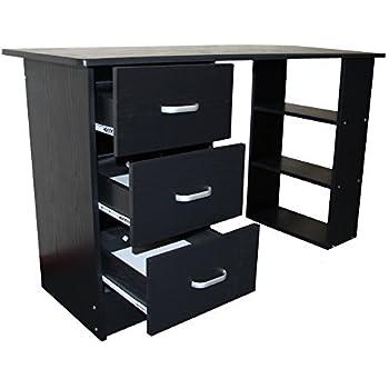 Redstone Black Computer Desk - 3 Drawers + 3 Shelves - Home Office Table Workstation
