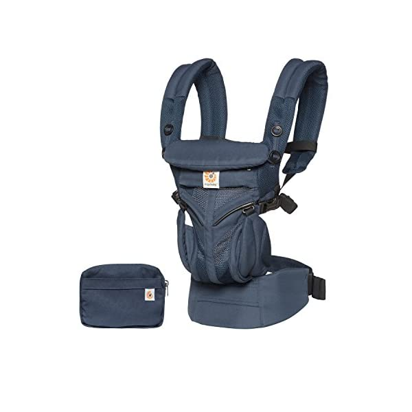 Ergobaby Baby Carrier for Newborn to Toddler, Ergonomic 4-Position Omni 360 Cool Air Midnight Blue, Baby Carrier Front Back Front Facing, Backpack Ergobaby Baby carrier with 4 ergonomic wearing positions: parent facing, on the back, on the hip and on the front facing outwards. four ergonomic carry positions and easy to use. Adapts to baby's growth: infant baby carrier new-born to toddler (7-33 lbs./ 3.2 to 20 kg), no infant insert needed Breathable 3d air mesh material ensures the optimal temperature of the baby. includes removable belt pouch. 2