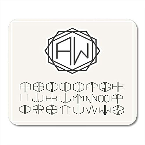Deglogse Gaming-Mauspad-Matte, Hexagon Stylish Graceful Monogram Elegant Line Design in Nouveau Style and Letters to Create of Two Mouse Pad Nouveau Monograms