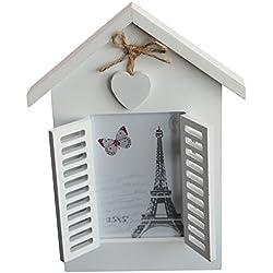 Fotos Vintage Diseño de Casa con postigos y corazón Lacado, aprox. 18x 24cm, para fotos 8x 12cm