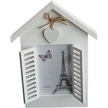 Marco de fotos de diseño vintage, de casa con ventanas y corazón, pintado, aprox. 18x 24cm, para fotos de 8x 12cm