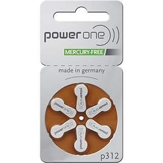 Power One Zinc Air Hearing Aid Size 312 Pack er 60, Braun