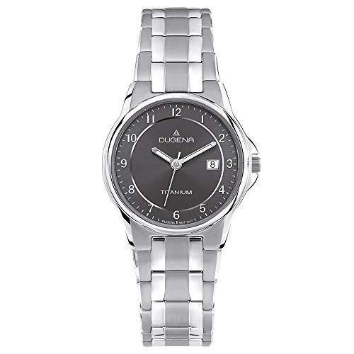 Dugena Damen Titan-Armbanduhr, Allergikerfreundlich, Quarzwerk, Gent, Silber/Anthrazit, 4460514