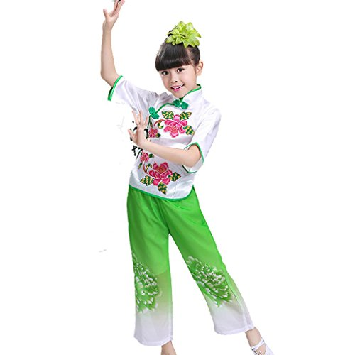 Wgwioo Kinder Tanz Bühne Kostüme Yangko Folk Girls Klassische Fan Drum Performance Lose Teen Kleidung Studenten Chor Gruppe Team, Green, 150Cm