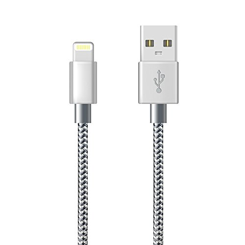 Lightning Cable iphone cable ZRB 3FT / 1m (Grey) Nylon Braided USB Cable Fast Sync Charger Cord for iPhone 7, 7Plus, 6s, 6, 6Plus, 6sPlus, iPhone 5s 5 5c, iPad, iPod and More