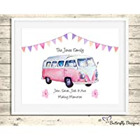 Personalised Retro Campervan Family Watercolour A4 Premium Print Picture Gift A5, A4 & Framed Options - Motorhome Vintage Camper Van - Choose The Style & Colour For Your Custom Print
