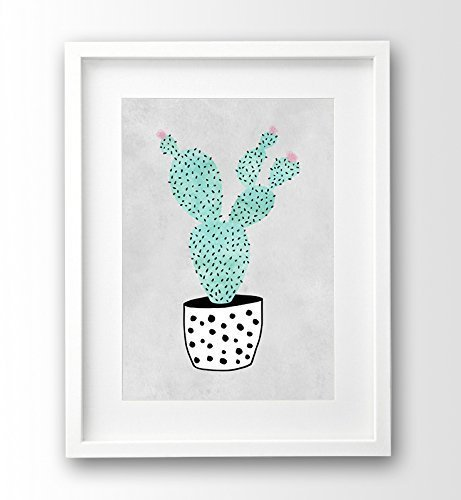kunstdruck-kaktus-a4-grau-schwarz-weiss