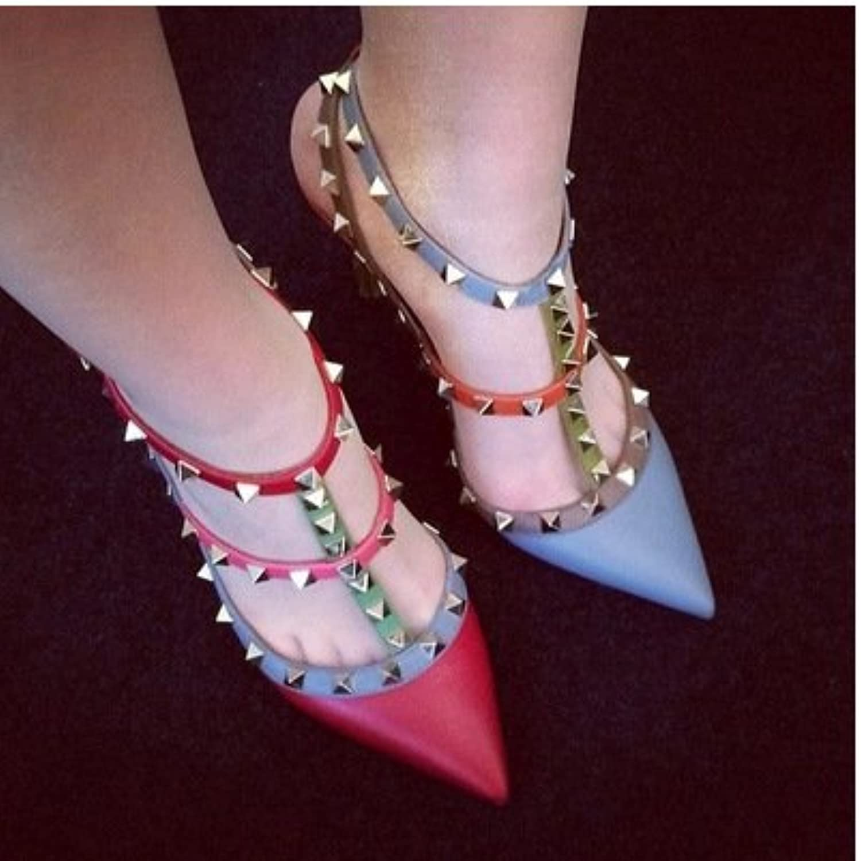 Chile pequeño de color paste señaló High-Heeled Sandals, azul 40