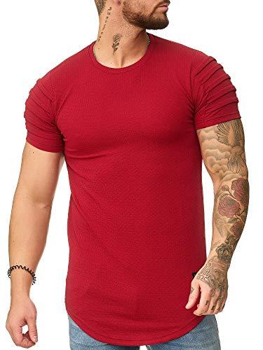 OneRedox Herren Rundhals T-Shirt Hoodie Longsleeve Kurzarm Shirt Sweatshirt Modell 3322 Rot M