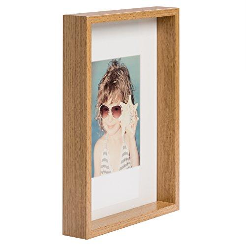 21 x 30 cm Box Bilderrahmen mit Passepartout 13 x 18 cm, Eiche