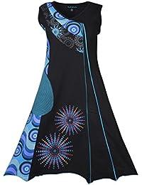 Dames sans manches en V-cou robe avec patch coloré et broderie-LMN6016-BLEM