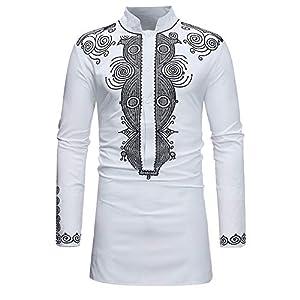 Pullover Für Herren,Herbst Winter Pullover Langarm T-Shirt Resplend Afrikanischer Stil Langarmshirt Dashiki Shirt Top Bluse Ethno-Stil mit Langen Ärmeln